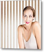 Retro Fashion Model Looking At Copyspace Metal Print by Jorgo Photography - Wall Art Gallery
