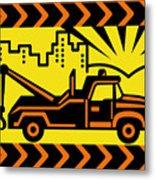 Retro Tow Truck Metal Print by Aloysius Patrimonio