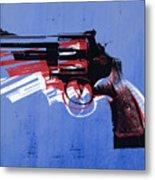 Revolver On Blue Metal Print by Michael Tompsett