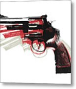 Revolver On White Metal Print by Michael Tompsett