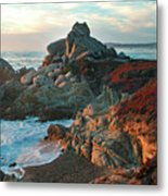 Ribera Beach Sunset Carmel California Metal Print by Charlene Mitchell