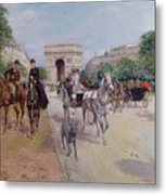 Riders And Carriages On The Avenue Du Bois Metal Print by Georges Stein