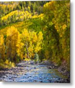 River And Aspens Metal Print by Inge Johnsson
