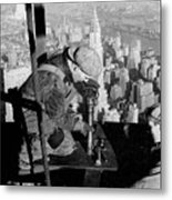 Riveters On The Empire State Building Metal Print by LW Hine