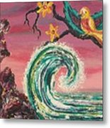 Rocks Wave And Bird Metal Print by Suzanne  Marie Leclair