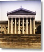 Rocky On The Art Museum Steps Metal Print by Bill Cannon