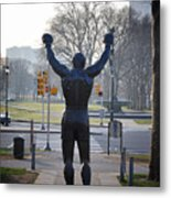 Rocky Statue From The Back Metal Print by Bill Cannon