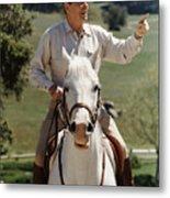Ronald Reagan On Horseback  Metal Print by War Is Hell Store