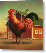 Rooster And The Barn Metal Print by Robin Moline
