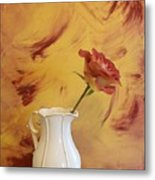 Rose In A Pitcher Metal Print by Marsha Heiken