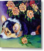 Roses - Pembroke Welsh Corgi Metal Print by Lyn Cook