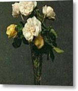 Roses In A Champagne Flute Metal Print by Ignace Henri Jean Fantin-Latour