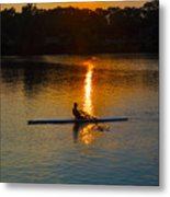 Rowing At Sunset 2 Metal Print by Bill Cannon