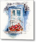 Rue Bernardine Window Metal Print by Pat Katz