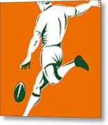 Rugby Player Kicking Metal Print by Aloysius Patrimonio