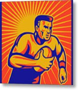 Rugby Player Running With Ball Metal Print by Aloysius Patrimonio