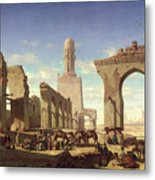 Ruins Of The Mosque Of The Caliph El Haken In Cairo Metal Print by Prosper Georges Antoine Marilhat