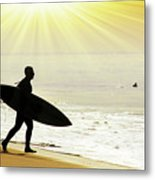 Rushing Surfer Metal Print by Carlos Caetano