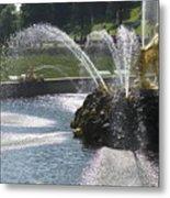 Russia, Samson Fountain At Peterhof Metal Print by Keenpress