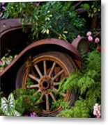 Rusty Truck In The Garden Metal Print by Garry Gay