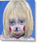 Sad Little Girl Clown Metal Print by Patty Vicknair