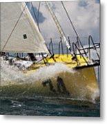 Sailboat Le Pingouin Open 60 Charging  Metal Print by Dustin K Ryan