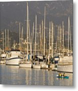 Sailboats Docked In The Santa Barbara Metal Print by Rich Reid