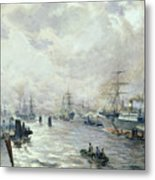 Sailing Ships In The Port Of Hamburg Metal Print by Carl Rodeck