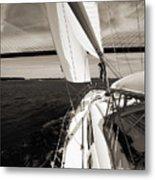 Sailing Under The Arthur Ravenel Jr. Bridge In Charleston Sc Metal Print by Dustin K Ryan