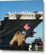 Sailors Aboard Aircraft Carrier Uss Metal Print by Stocktrek Images