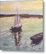 Saling Home At Sunset Metal Print by Dan Bozich