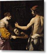 Salome Receiving The Head Of St John The Baptist Metal Print by Giovanni Francesco Barbieri