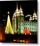 Salt Lake Temple Christmas Tree Metal Print by La Rae  Roberts