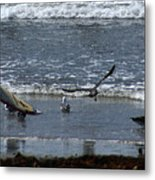 Sand And Surf Metal Print by Linda Shafer