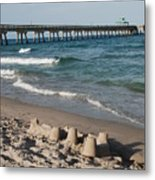 Sand Castles And Piers Metal Print by Rob Hans