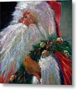 Santa Claus With Sleigh Bells And Wreath  Metal Print by Shelley Schoenherr