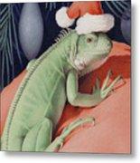 Santa Claws - Bob The Lizard Metal Print by Amy S Turner
