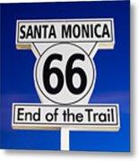 Santa Monica Route 66 Sign Metal Print by Paul Velgos