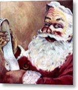 Santa With A List Metal Print by Sheila Kinsey