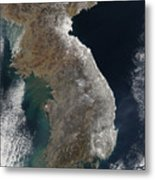 Satellite View Of Snowfall Along South Metal Print by Stocktrek Images