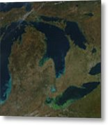 Satellite View Of The Great Lakes, Usa Metal Print by Stocktrek Images