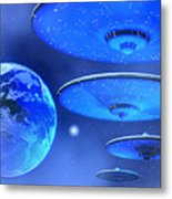 Saucers Metal Print by Corey Ford