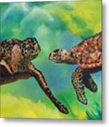 Sea Turtles And Dolphins Metal Print by Susan Kubes
