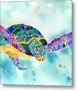 Sea Weed Sea Turtle  Metal Print by Jo Lynch