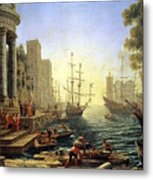 Seaport With The Embarkation Of Saint Ursula  Metal Print by Claude Lorrain