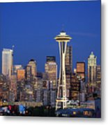 Seattle At Dusk Metal Print by Adam Romanowicz