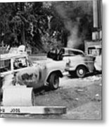 Segregationist Riot At Old Miss. Burned Metal Print by Everett