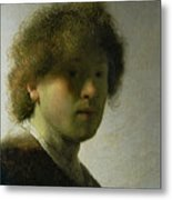 Self Portrait As A Young Man Metal Print by Rembrandt