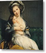 Self Portrait In A Turban With Her Child Metal Print by Elisabeth Louise Vigee Lebrun