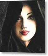 Self Portrait In Cape Metal Print by Scarlett Royal
